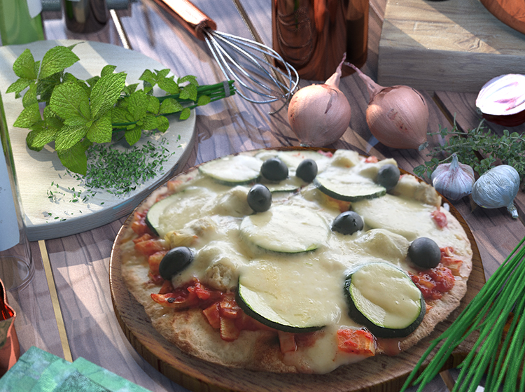 Artischockenpizza mit Tomaten, Zucchini und Olive